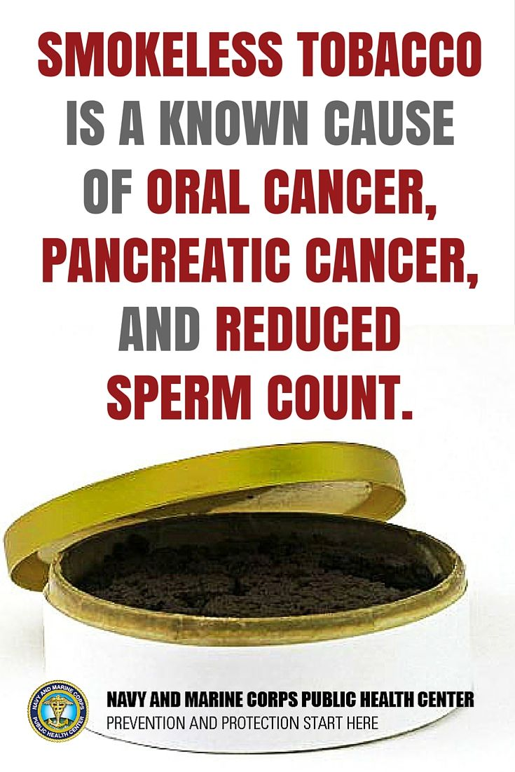 Smokeless tobacco use is significantly higher among men than women. Smokeless tobacco is a known cause of oral and pancreatic cancer, in addition to reduced sperm count. You can quit today! #MensHealth