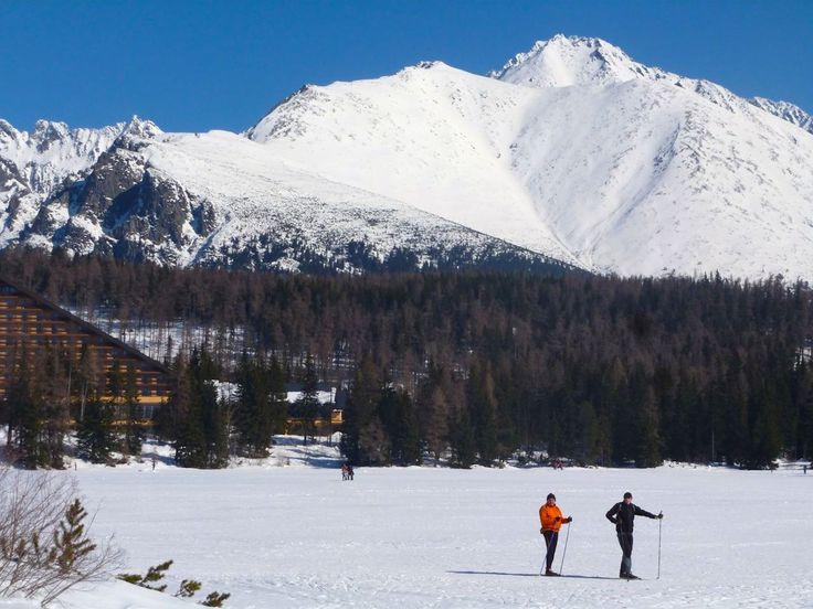 The Tatras Mountains here seen from the Slovakian side with a frozen lake by the Kempinski Hotel