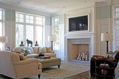 Millwork that goes three-quarters of the way up a wall. Herringbone stone work in the fireplace. Molding around TV. Sofa profileBathroom Design, Fireplaces Design, English Cities, Beyerl Architects, Design Ideas, Traditional Family Rooms, Cities House, Living Room, Traditional Families Room