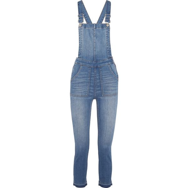 Madewell Stretch-denim overalls ($190) ❤ liked on Polyvore featuring jumpsuits, blue, madewell, blue bib overalls, blue jumpsuit, blue overalls and zipper jumpsuit