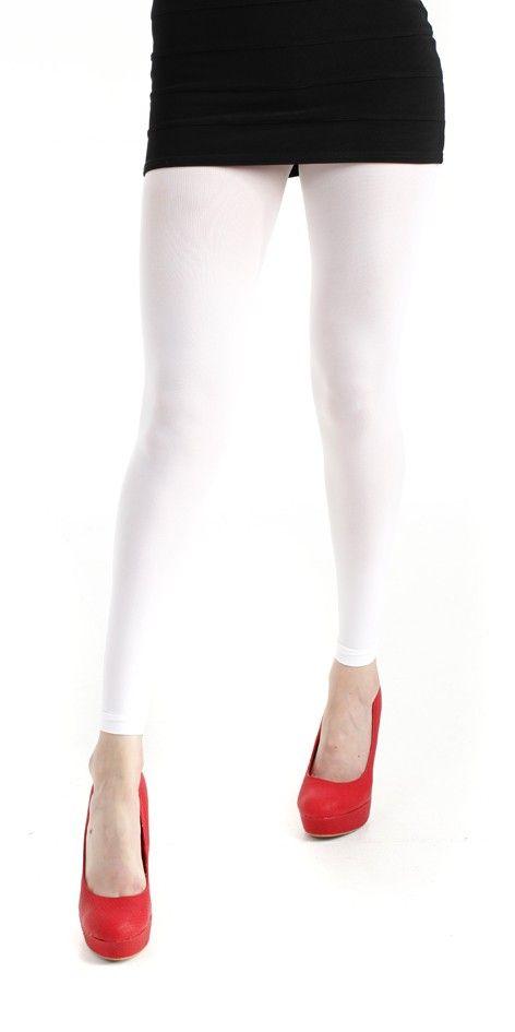 40 Denier Velvet Footless Tights White - Pamela Mann
