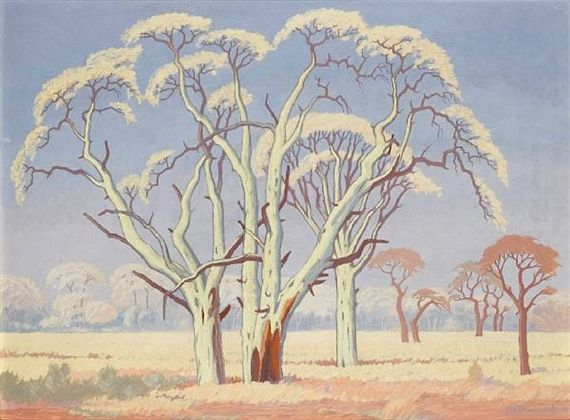 Jacob Hendrik Pierneef - Acacia trees in the veld,...