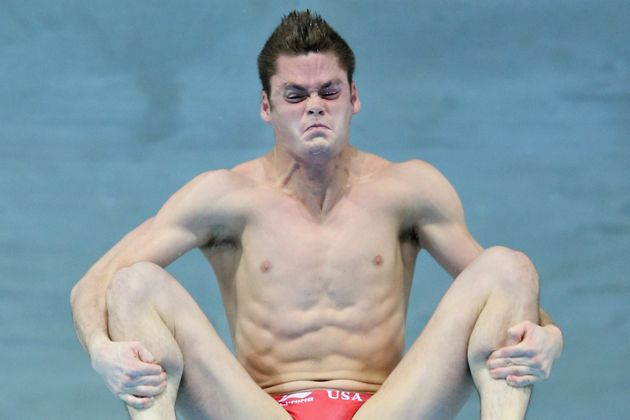 This Is How Olympic Divers Really Look While Diving. Tons of concentration and muscles flexing.