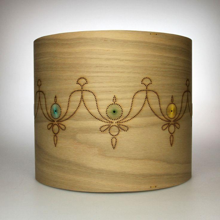 Jane blease design hand embroidered wood veneer lampshade for Wood veneer craft projects