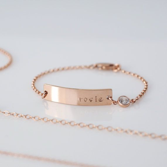 Personalized Baby Bracelet / Gold Rose Gold or by madebymaryshop