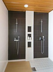 Shelf between the showers
