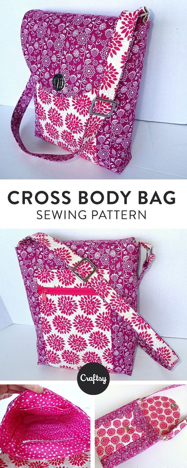 Carry everything you need and stay organized with this handy Cross Body Bag sewing pattern. Customize your fabric and hardware for a one of a kind accessory. Create a Craftsy account to download your new bag pattern!