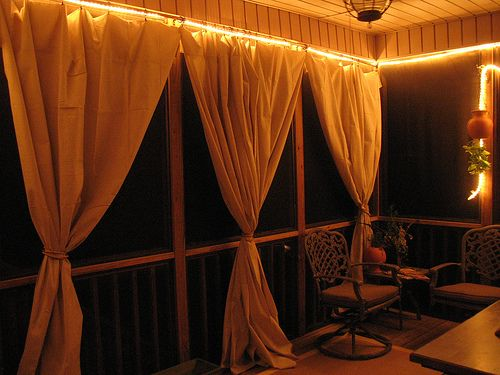 canvas drop cloth curtains... Or use fun shower curtains maybe for color and waterproof ness?