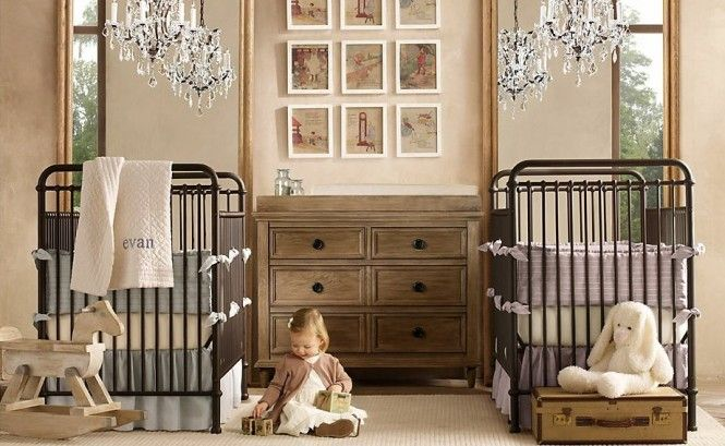 Great framing for a twin boy & girl baby room #vintage #rustic #customframing @homedesigning