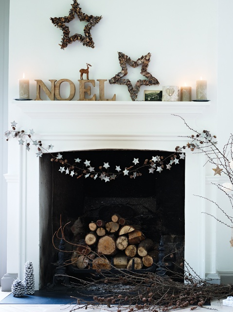 christmas mantle - neutral colors, stars.... would be pretty with a string of lights