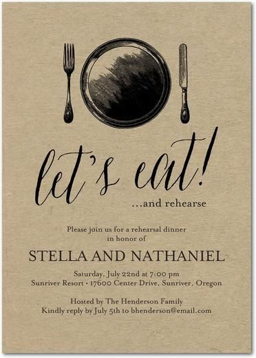 Classic Silverware - Signature White Rehearsal Dinner Invitations - Wiley Valentine - Black : Front