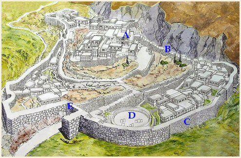 Mycènes était située sur une colline au Nord-est de la plaine d'Argos, dans le Péloponnèse à environ 90 km au Sud-ouest d'Athènes Plan de la cité    A - Le palais  B - Muraille cyclopéenne  C - Mur d'enceinte  D - Cercle A des tombes royales  E - Porte des Lions