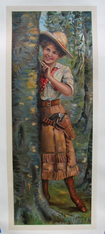 1911 Vintage Cowgirl Walkover Shoes Antique Advertising Poster Sign