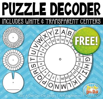 FREE Puzzle Decoder Template Set {Zip-A-Dee-Doo-Dah Designs} You will receive 2 different style templates that were hand drawn by myself; Letters & Numbers and then a blank to create your own. The templates are include in PNG format only.