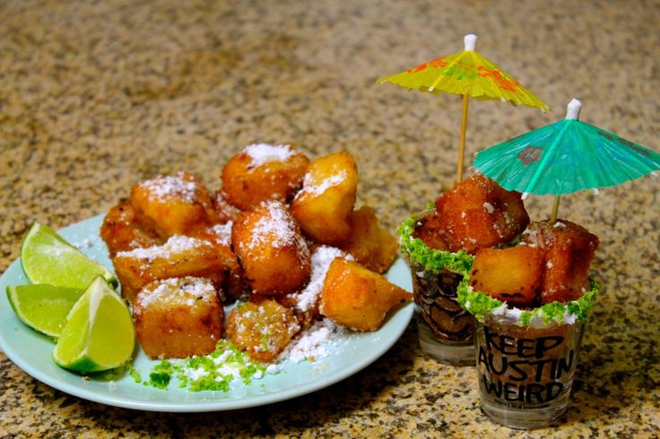 Deep fried tequila cake bites