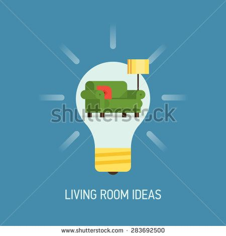 Cool vector flat design web banner illustration on interior design living room ideas with lightbulb and living room furniture and decoration items - stock vector