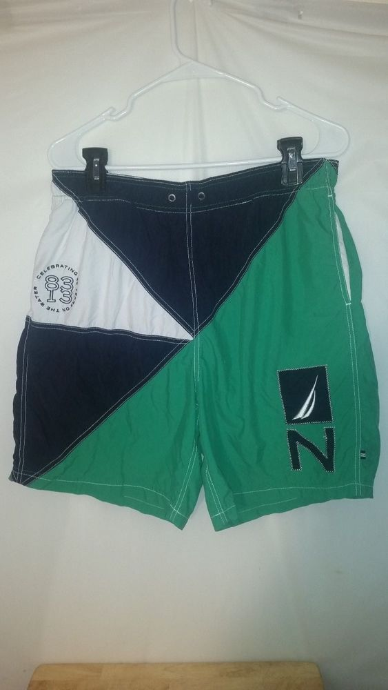 Mens Nautica Multi-Color Mesh Lined Celebrating 30 Years Swim Trunks XL #Nautica #Trunks