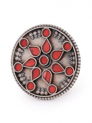 Red Glass Adjustable Silver Ring with Floral Design