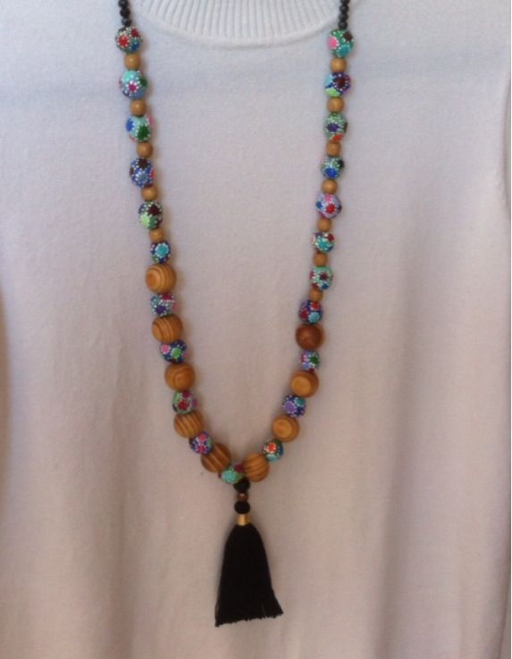 Paper mache necklace, beads, woods and crystal for sale 45$! שרשרת מעיסת נייר, חרוזי עץ וקריסטל למכירה!