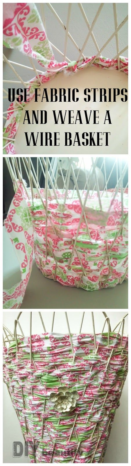 Easy woven wire basket or trash can using fabric strips!
