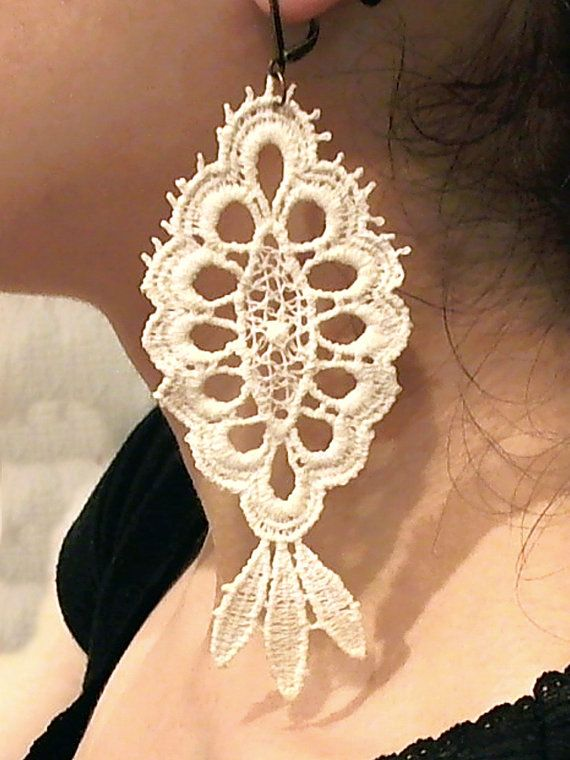 Lace Earrings, Retro Earrings, Cotton Lace Earrings, Filigree Earrings