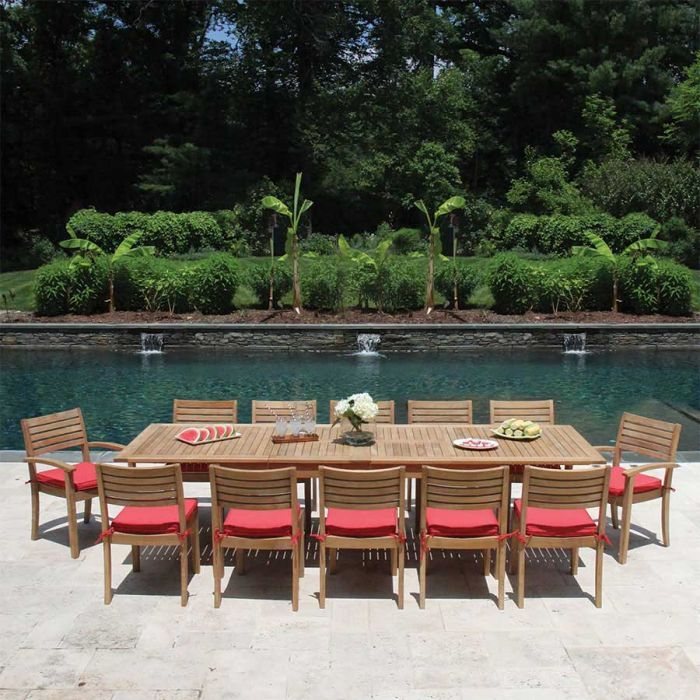 Calypso Teak Butterfly Extension Table With Stacking Sidechairs And Armchairs Extension Table Teak Outdoor Teak Dining Table