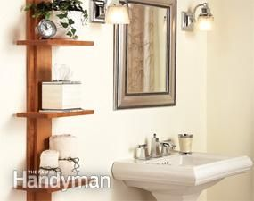 Bathroom shelving unit and many other storage tips