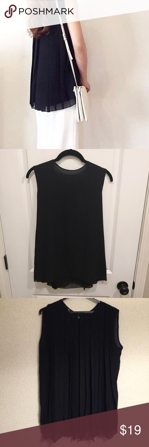 "Uniqlo Sleeveless Pleated Back Top NWT! Uniqlo sleeveless top with beautiful pleated back. Shoulder to hem approx 25"". Material: 100% polyester. Uniqlo Tops Blouses"
