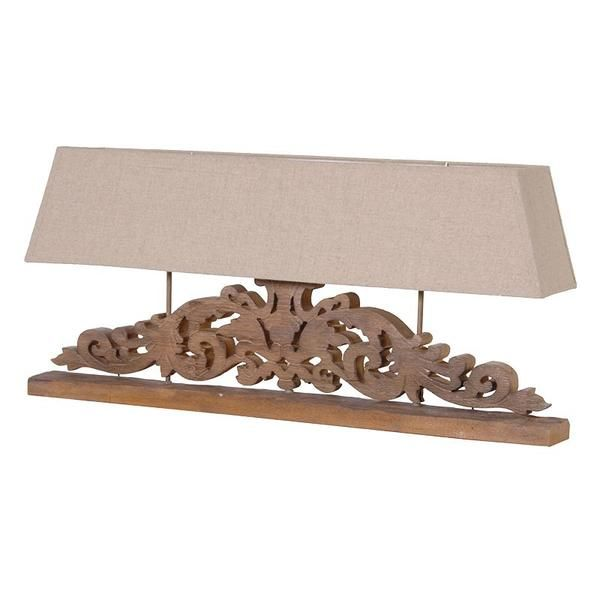 A beautiful wide lamp made from carved wood. This ornate lamp would make a statement in any room in your home. The lamp takes three standard large bayonet bu...
