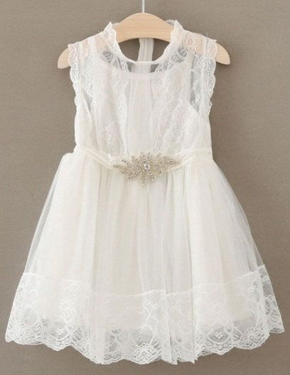 White Lace Girls Dress with Rhinestone Belt, White Tulle Dress, Birthday Girl Dress, Shabby Chic baby and Toddler Dress