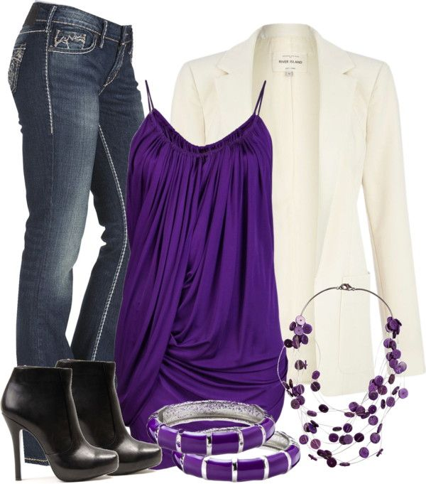 """Purple & White"" by chells-style on Polyvore"