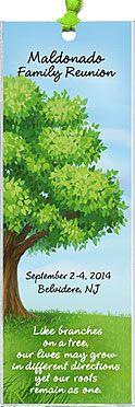 Family Tree reunion bookmark favors