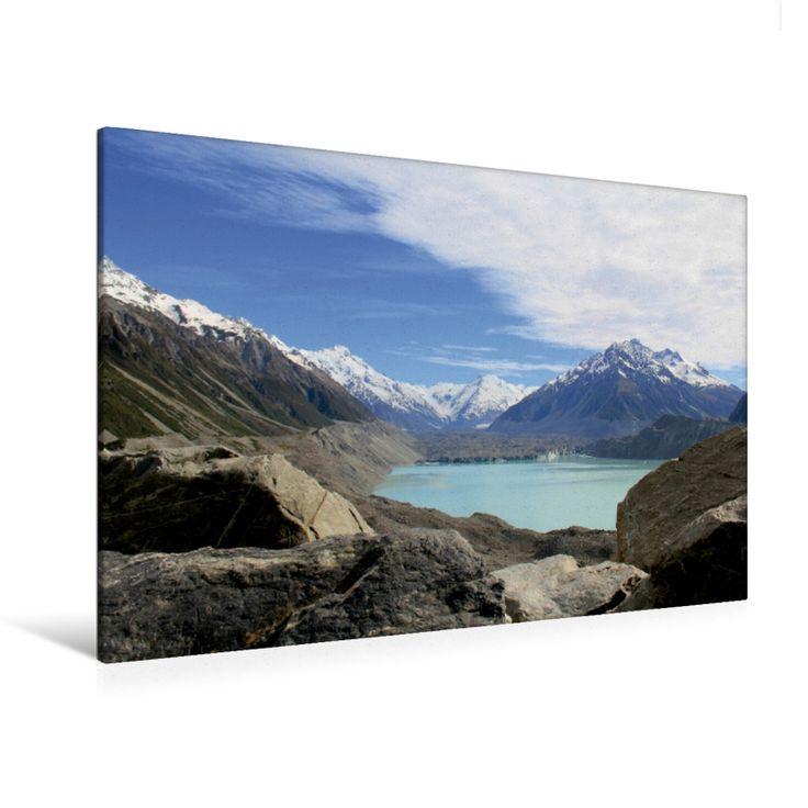 Tasman Glacier mit Gletschersee (Premium Foto-Leinwand 45x30 cm, 50x75 cm, 90x60 cm, 120x80 cm)