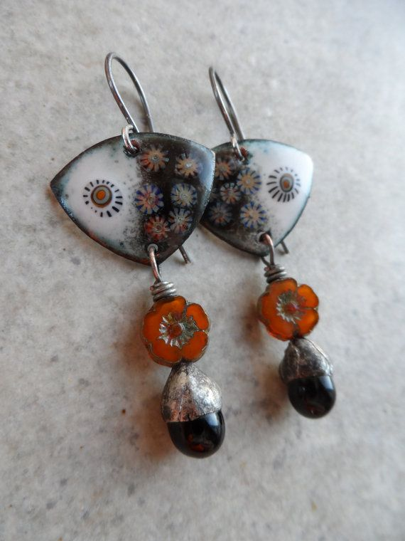 Moonlit Garden ... Artisan-Made Enameled Copper, Glass Headpins with Tinwork, Czech Glass Flower and Sterling Silver Boho,Earthy Earrings