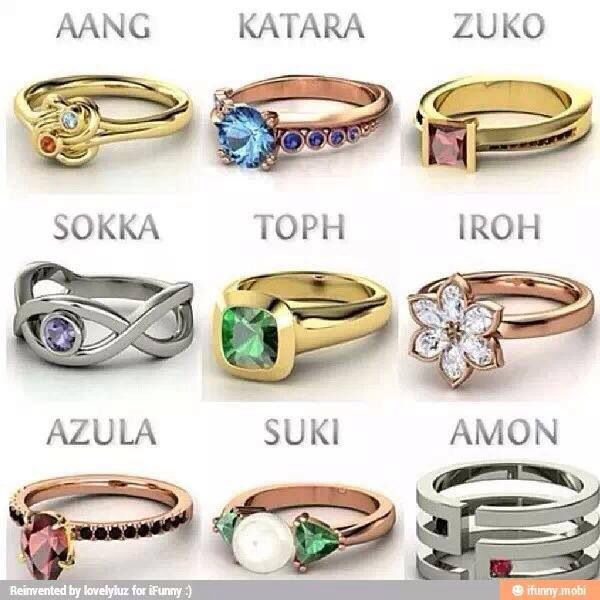 Avatar the Last Airbender and Legend of Korra character rings!