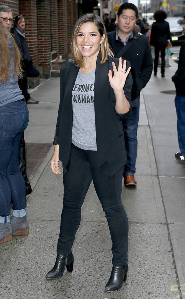 America Ferrera from The Big Picture: Today's Hot Photos The actress waves to fans as she arrives for an appearance on The Late Show with Stephen Colbert in New York City.