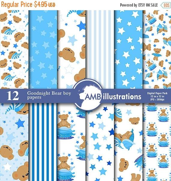 80%OFF Goodnight bear digital papers, Nursery papers, Slumber party papers, It's a boy scrapbook papers, commercial use, AMB-985