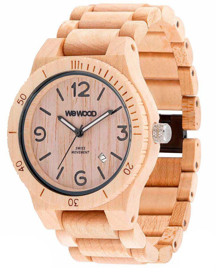 Wewood Holzuhr Alpha SW Beige Herren Armbanduhr WW08006 Herrenuhr, Schweizer Uhrwerk ISASWISS 9232B2 (9232-1930), Ahornholz Uhrengehäuse, Ahorn-Holz-Armband mit Clipverschluß, Durchmesser 45 mm, Höhe 11 mm, Gewicht ca. 56 g, Datumsanzeige