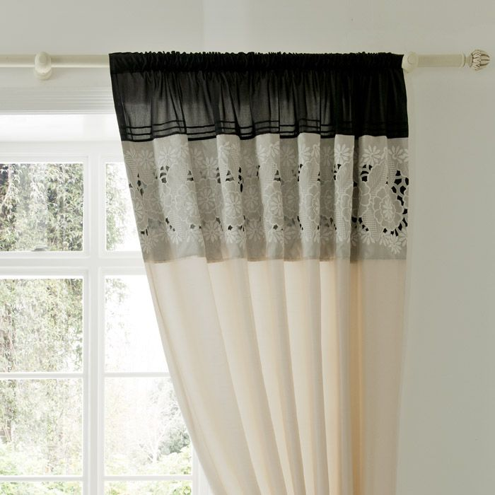 black cream and natural ready made curtains suitable for the bedroom