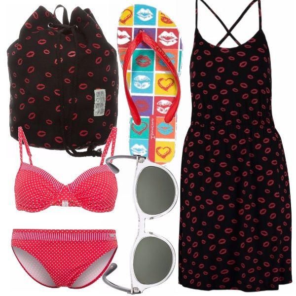 Romantico e malizioso questo outfit per il mare o la piscina. Romantici i pois del bikini rosso, maliziose le bocche che tempestano il vestito di cotone, il sacco en pendant e le infradito. Completate con gli occhiali da sole e dritte in spiaggia.