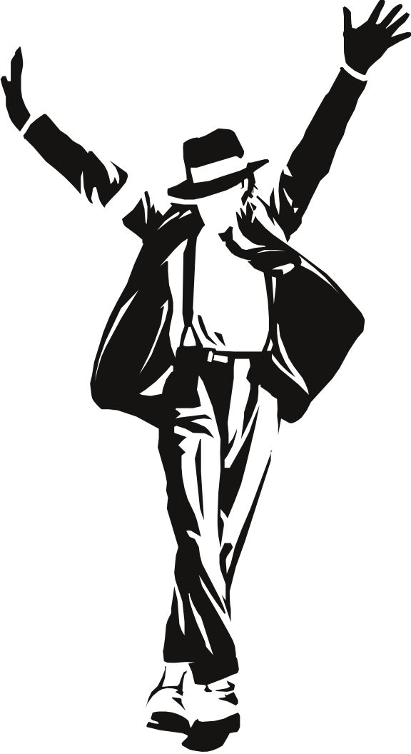 Michael Jackson Silhouette Template, Stencil, Sjabloon, showing one of his famous moves.