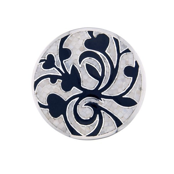 1e Gehalte zilveren parelmoer mozaiek met zwart emaille cover, 33 mm, MY iMenso.