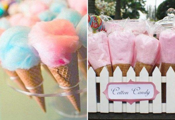 Algodão doce em cones, tipo sorvete                                                                                                                                                                                 Mais