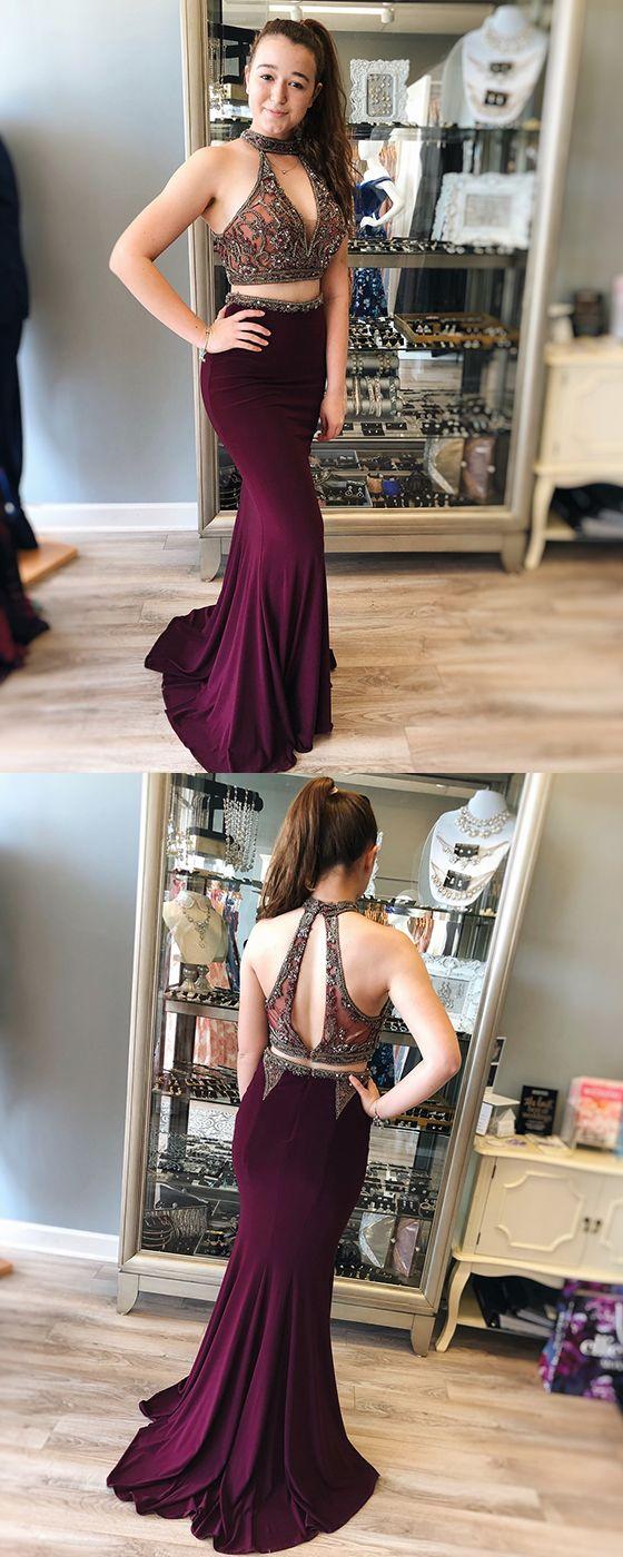 e16323e569e3 Two Piece Mermaid Grape Beaded Long Prom Dress #prom# #dress# #long prom  dress# #two piece# #mermaid# #grape# #evening dress# #formal dress#