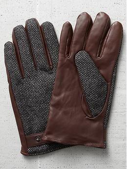 Scotch & soda men's leather tweed gloves