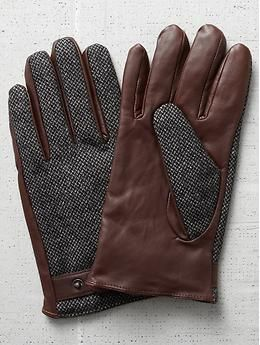 Scotch & Soda Leather Tweed Gloves
