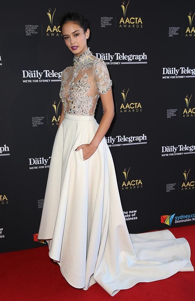 Courtney Eaton on the red carpet at the 2014 AACTA Awards held at The Star in Pyrmont. Picture: Richard Dobson