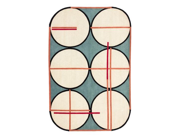 Handgearbeiteter geometrischer Teppich aus Wolle CREDENZA
