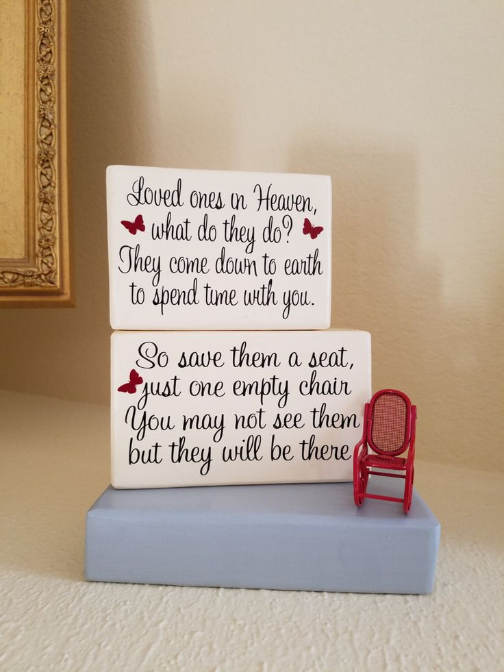Loved Ones in Heaven What do They do....Save Them a Seat Just One Empty Chair...Wood Block Display with Red Rocking Chair by NeedleAndVinylDesign on Etsy