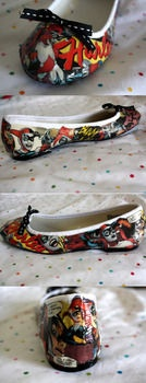 Comic book shoes. I'm sure it'd look super cute with skinny jeans and tshirt!